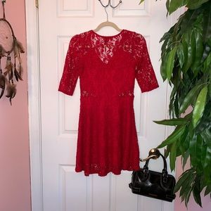 Material Girl Casual Lace Red Dress
